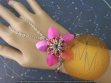 Load image into Gallery viewer, CLEARANCE - Pink & Gold Scalemail Handflower with Flourite Gemstone Accents