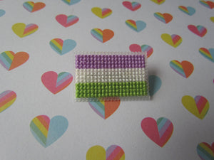 Cross Stitched Pride Flag Pins - GENDERQUEER