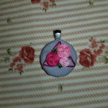 Load image into Gallery viewer, Floral rose hand embroidered geometric art necklace
