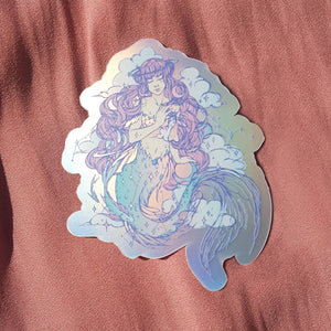 GALAXY MERMAID STICKER (MATTE HOLOGRAPHIC)