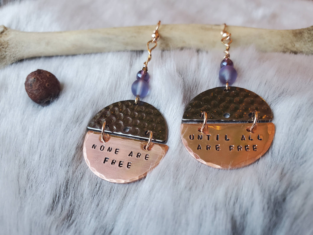 Prison Abolition Earrings: none are free until all are free