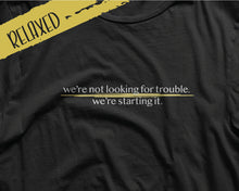 Load image into Gallery viewer, Starting Trouble Relaxed Fit Tee | Social Miscreant Tees Branded Shirt