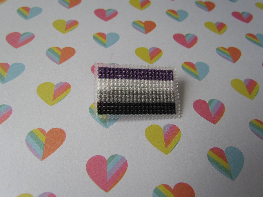 Cross Stitched Pride Flag Pins - ASEXUAL