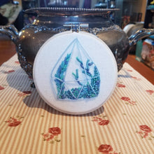 Load image into Gallery viewer, Hand embroidered succulent terrarium art hoop