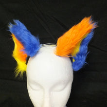 Load image into Gallery viewer, Cat Ears - Tricolor Blue, Orange & Yellow
