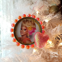 Load image into Gallery viewer, Handmade glittered RuPaul, RuPaul's Drag Race Christmas ornament, drag queen, glitter art, fan art, gift