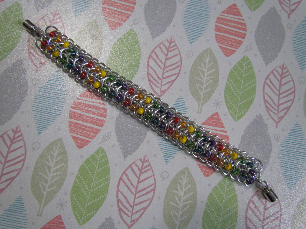 Rainbow Beaded Dragonback Chainmail Bracelet
