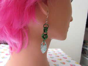 Double Mobius Knot Earrings - Green Damascus