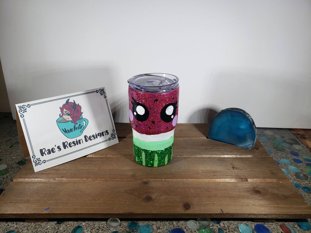 Hand Painted Kawaii Watermelon 14 oz Acrylic Tumbler