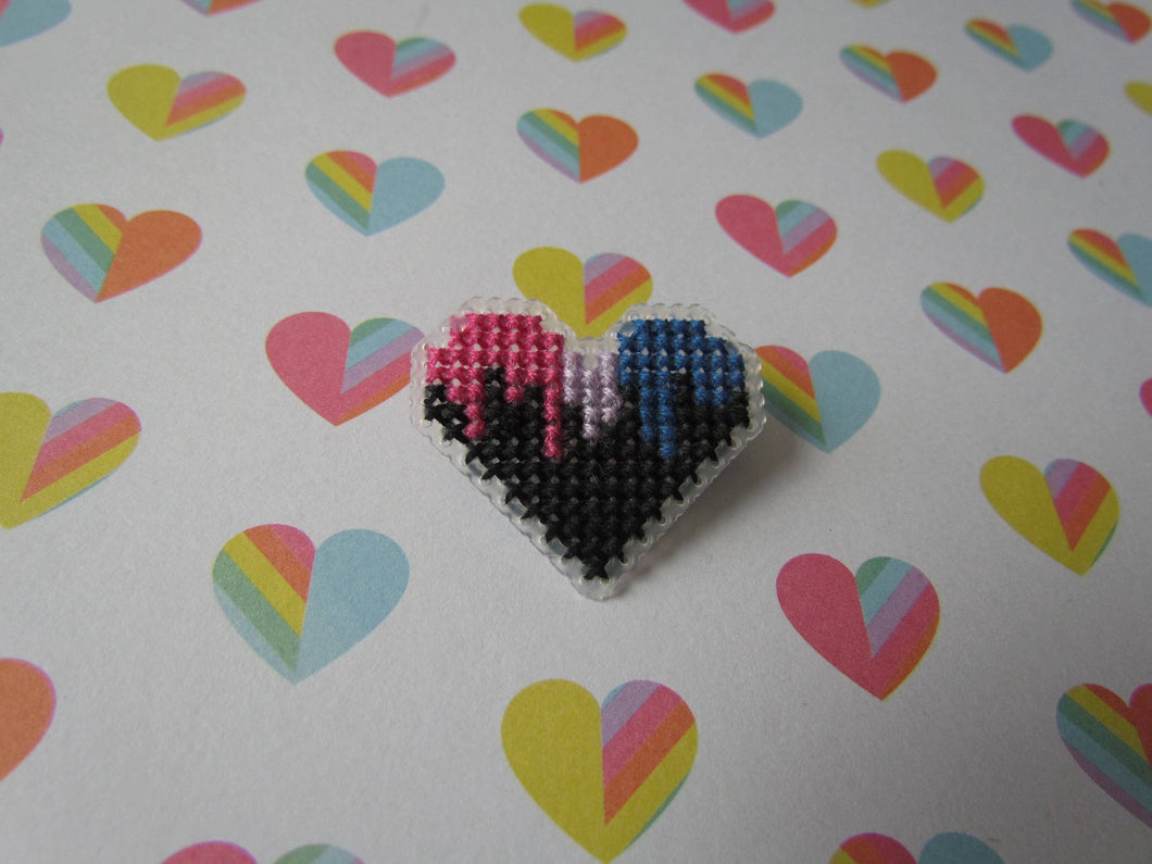 Cross Stitched Pride Flag Pins - BISEXUAL DRIPPY HEART