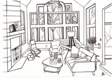 Load image into Gallery viewer, Exterior and Interior of Homes, Black and White Hand Drawings