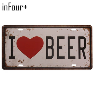 New Hot Sell Beer Group Plate Metal Plate Car Number Tin Sign Bar Pub Cafe Home Decor Metal Sign Garage Painting Plaques Sign