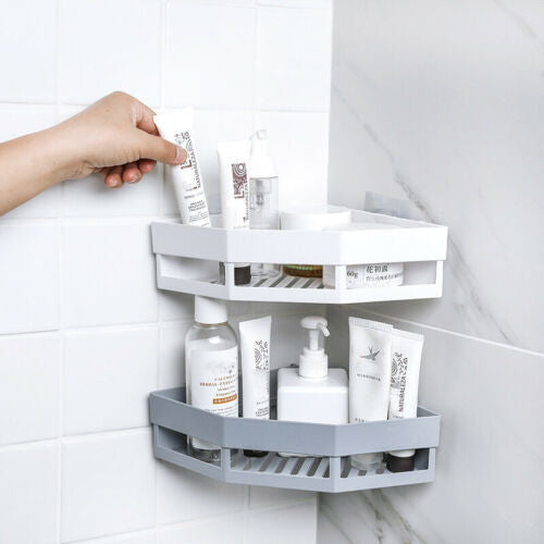 Bathroom Shelf Adhesive Storage Rack Corner Holder Shower Gel Shampoo Basket Hot