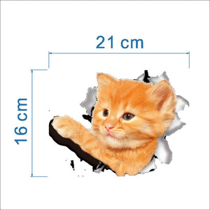 Hole View Vivid Cats 3D Wall Sticker Bathroom Toilet Living Room Decoration Animal Vinyl Decals Art Sticker Wall Poster GHMY
