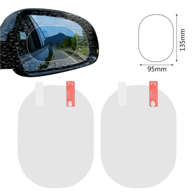 2PCS/Set Car Accessories Anti Fog Rainproof Car Mirror Window Clear Film Anti-glare Waterproof Car Sticker Driving Safety