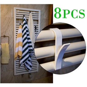 10pcs High Quality Hanger For Heated Towel Radiator Rail Bath Hook Holder Clothes Hanger Percha Plegable Scarf Hanger white