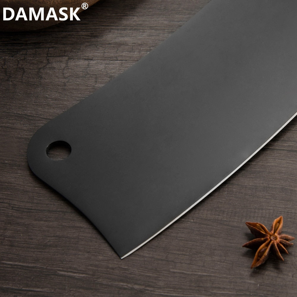 DAMASCO Acciaio Inox Coltello Da Cucina Set di Colore Nero Chef Tagliere Nakiri Macellaio Coltelli Set 4Cr14mov Coltello Da Cucina Regalo di Modo