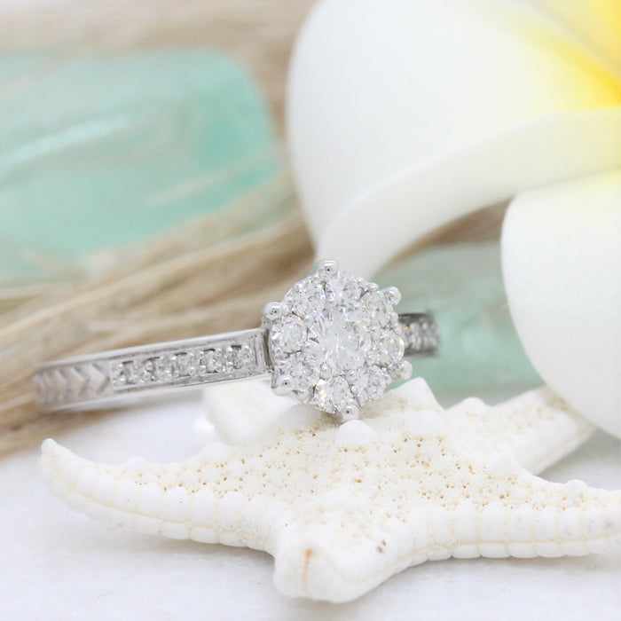 NC060E - Fine Spear Engagement ring