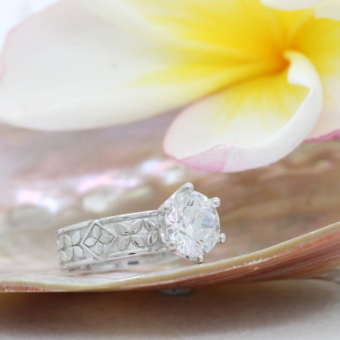 NC010CZDR - Flower Engagement Ring CZ