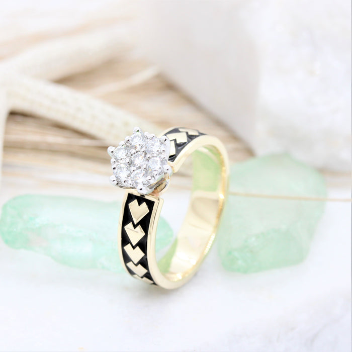 NC046L - Diamond Spear Engagement ring