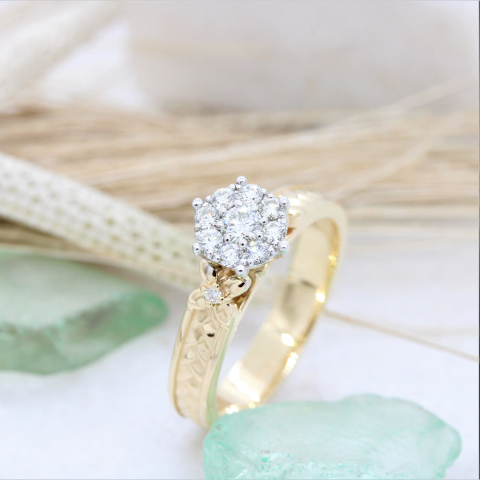 Weave and flower diamond engagement ring NC52268-2