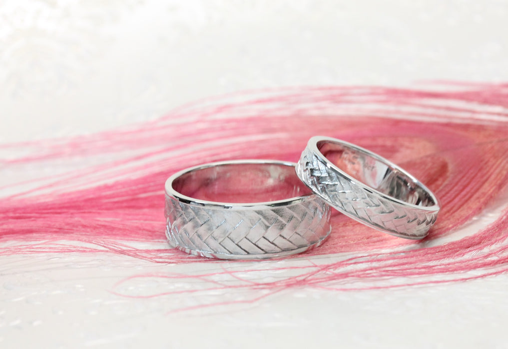 NC42101/2BS - Matching Weave Wedding bands