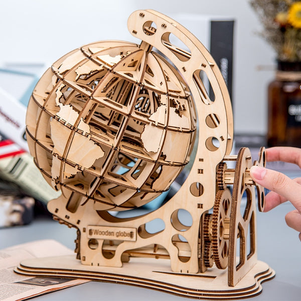 DIY Rotatable 3D Globe Laser Cutting Wooden Puzzle