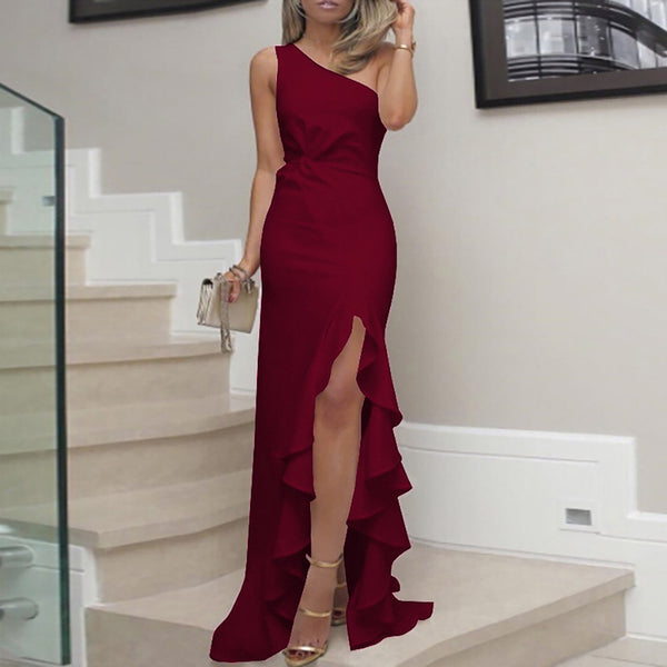 Women's One Shoulder Ruched Ruffle Formal Evening Party Dress