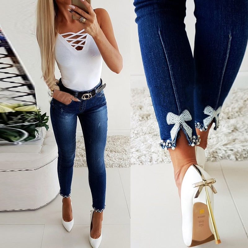 Woman's High Waist Pearl Lace Stitching Skinny Jeans