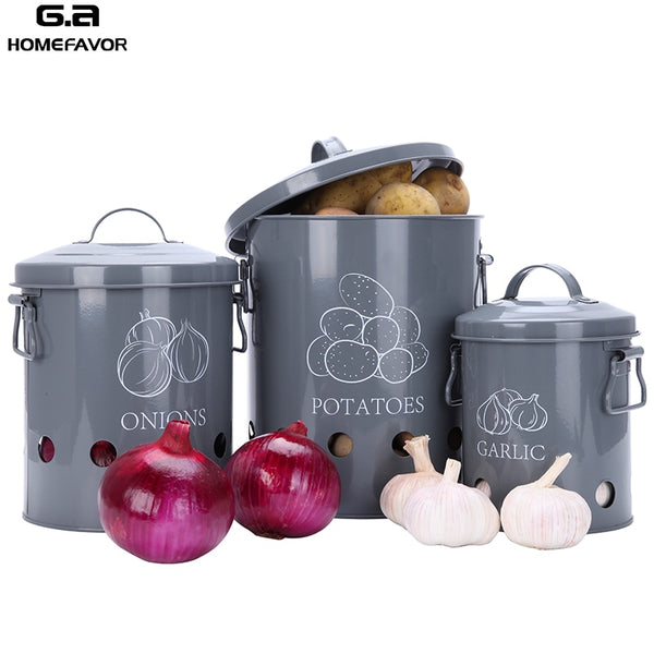 3 Pcs Metal Bucket Storage Bin for Garlic Onions and Potatoes