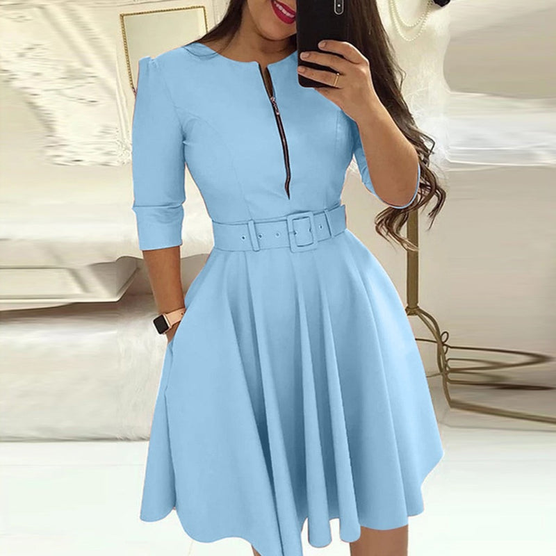 Women's Round Neck Solid Color Quarter Sleeve Dress