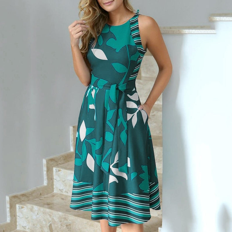 Simple Sexy Casual Round Neck Sleeveless Leaf Print Dress