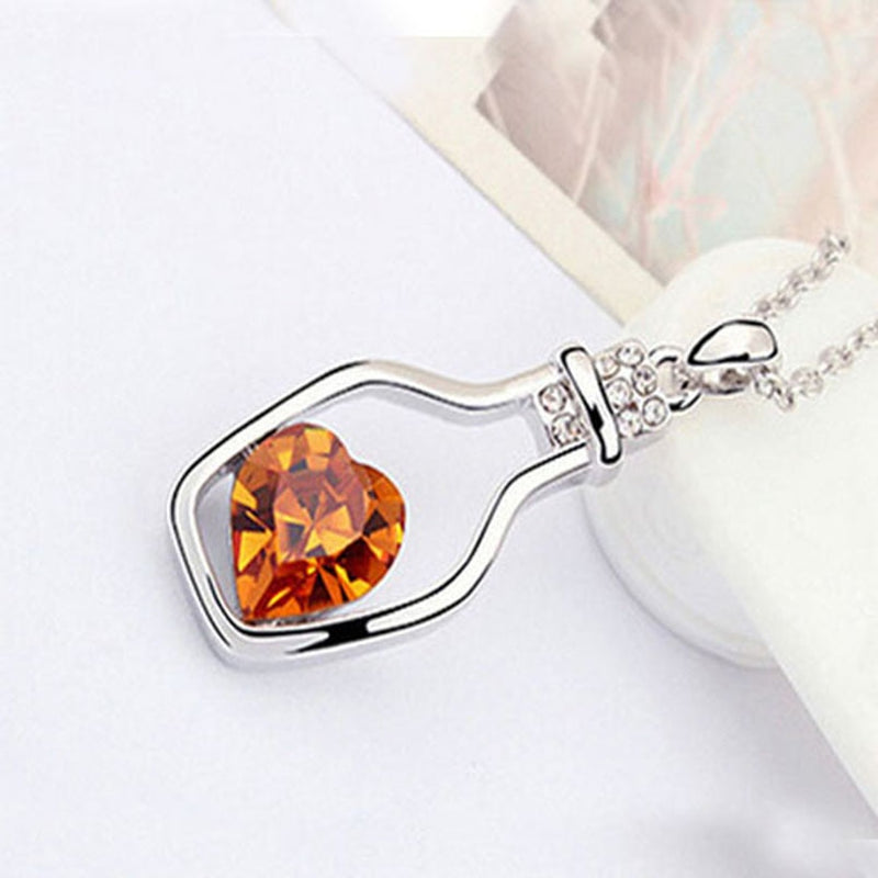 3 Colors Heart Crystal Pendant Necklace