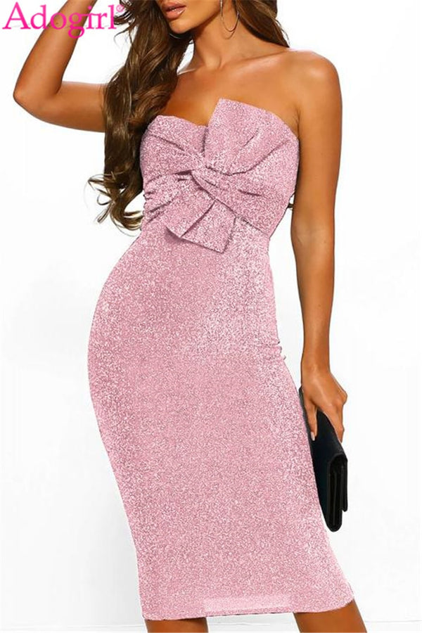 Luxe Glam Knot Front Bandeau Midi Dress