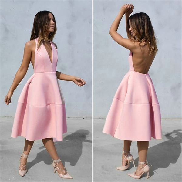 Women's Sexy Deep V Neck Halter Backless Party Dress