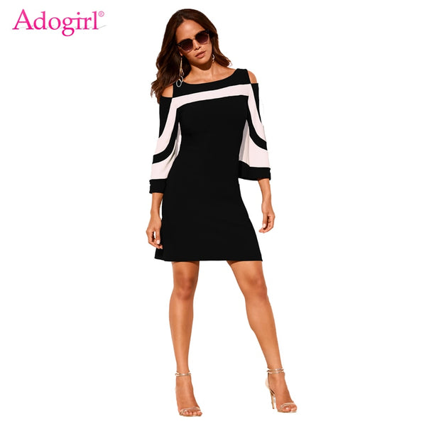 Women's Cold Shoulder Flare Sleeve Mini Dress