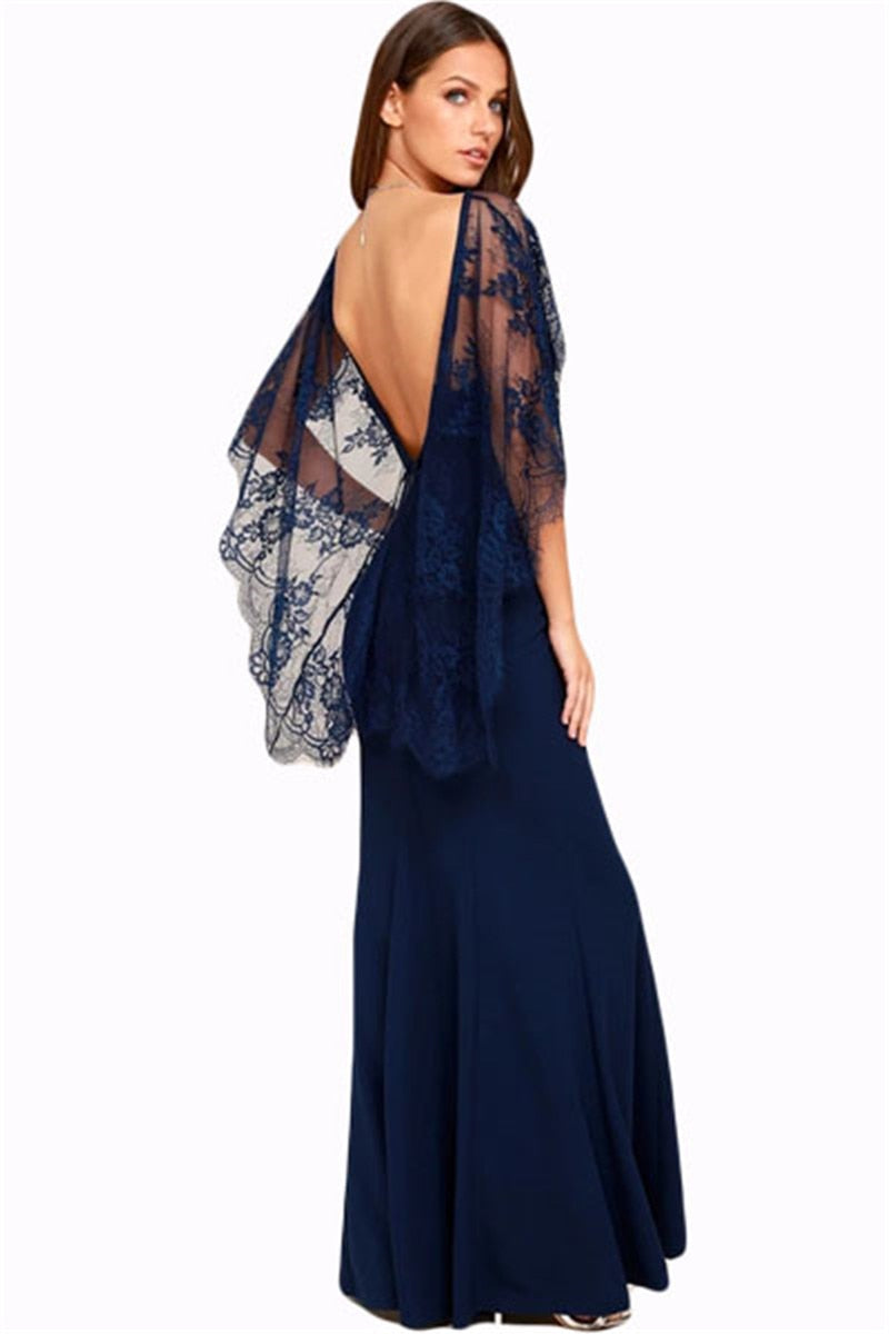 Sexy V Cut Open Back Lace Cape Sleeve Maxi Evening Gown