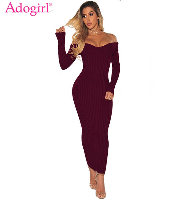 Women's Sexy V Neck Long Sleeve Off Shoulder Ribbed Dress