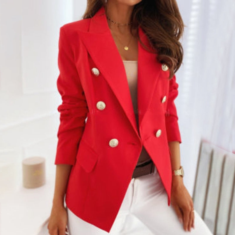 Women Double Breasted Buttons Blazer