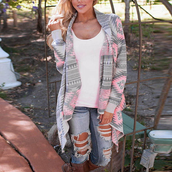Women's Long Sleeve Casual Geometric Print Cardigan