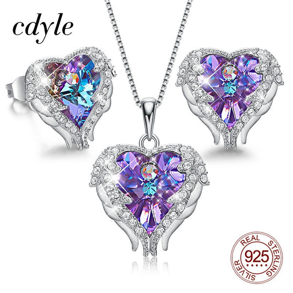 Angel Wings Heart Shaped Necklace Earrings Set