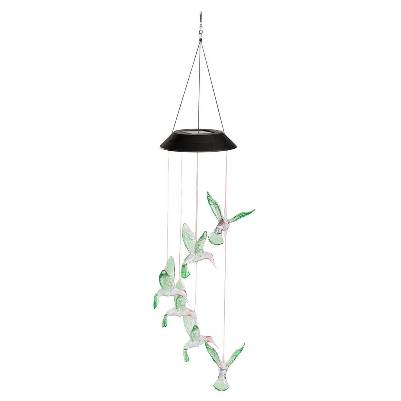 LED Solar Hummingbirds Wind Chime Color Changing Lamp Light