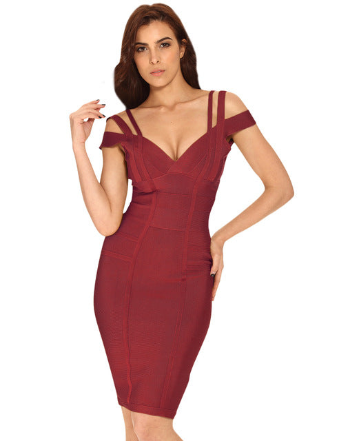 Women's Wine Red V Neck Bodycon Dress