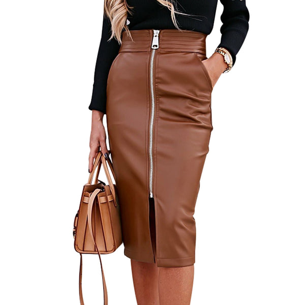 Elegant Faux Leather Woman's Front Zipper Midi PU Leather Skirt