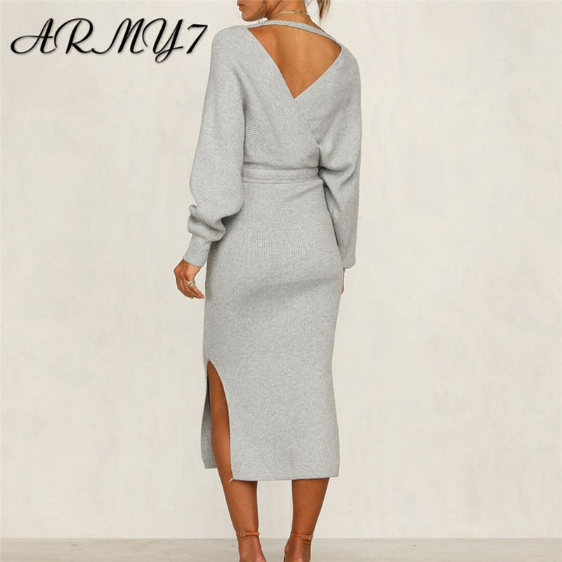 Ladies Knitted Bodycon Dress With Belt