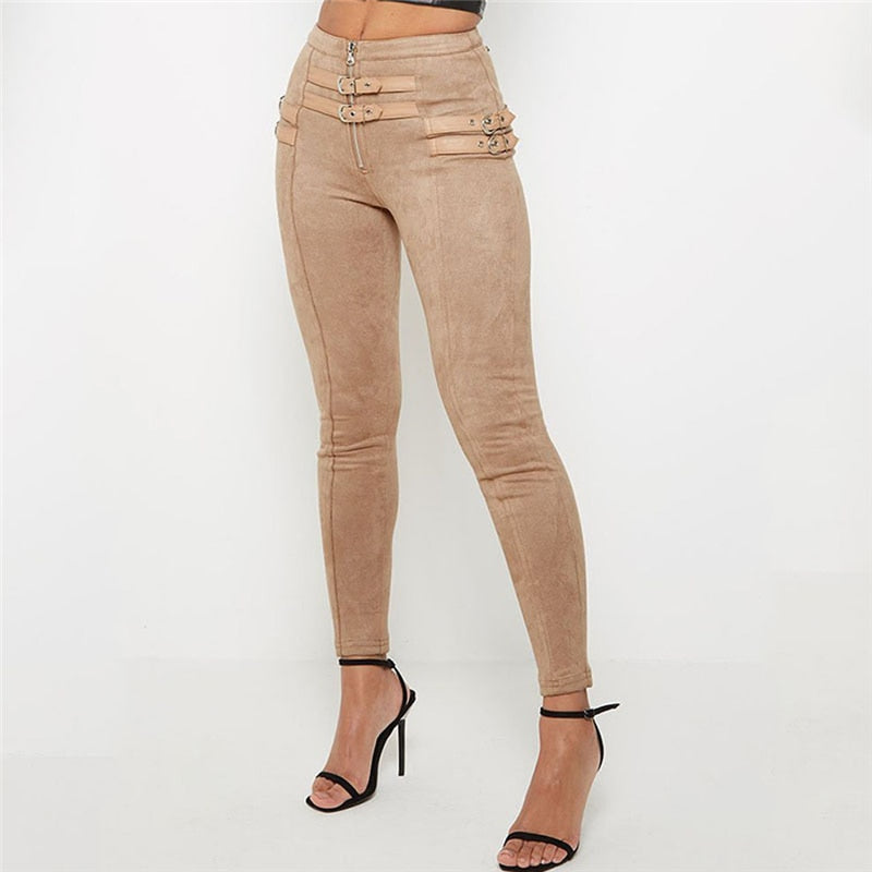 Women's High Waist Suede Skinny Belt Buckle Solid Button Pencil Pants