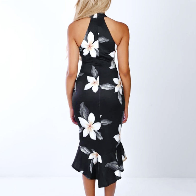 Women's Off Shoulder Evening Bodycon Midi Dress