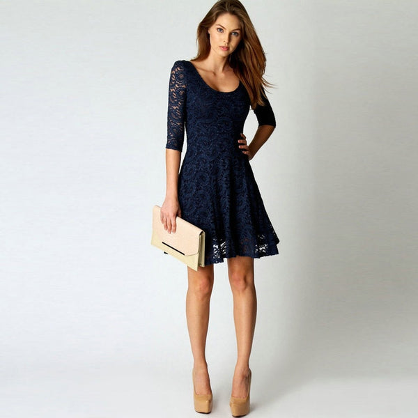 Blue Lace Three Quarter Spring O Neck Bodycon Dress