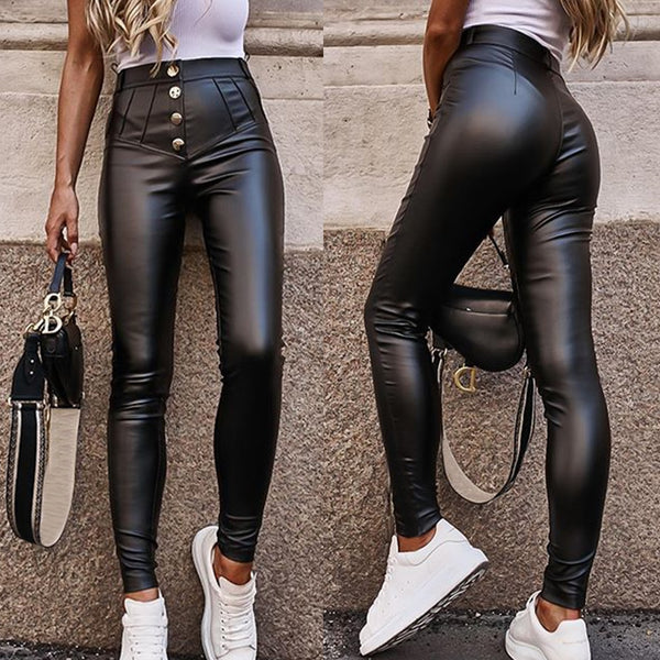 Women's High Waist Faux Leather Button Pencil Pants