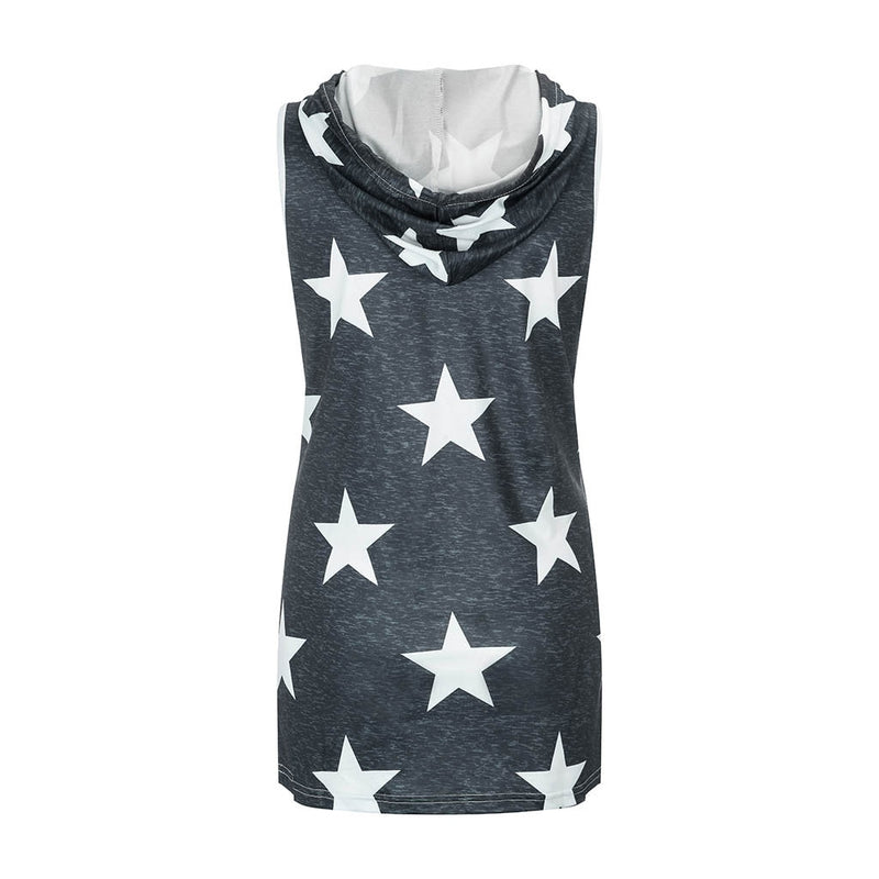 Women's Sleeveless Fashion Star Print Loose Hooded Top